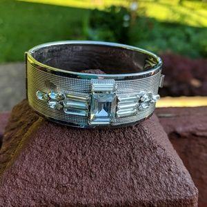 Art Deco silver tone cuff